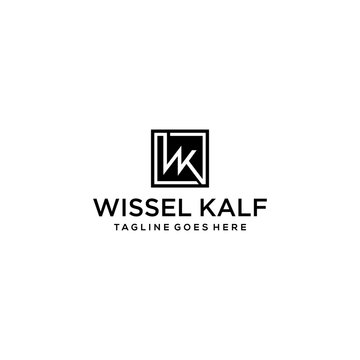 Creative Illustration modern W,K sign geometric logo design template