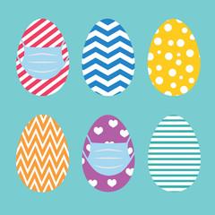 easter egg wearing protective medical mask -vector illustration