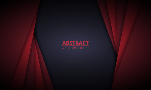 Red and black abstract background with gradient paper lines. Dark modern and elegant design illustration for banner, cover, flyer, page, website and header. Vector illustration EPS10.