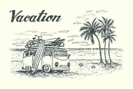 Vacation scene with cartoon van, equipment and beautiful beach on background