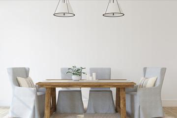 Modern dining-room. 3d render. Fotomurales