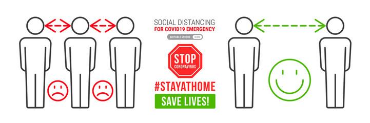 Zelfklevend Fotobehang Hoogte schaal Social distancing infographics
