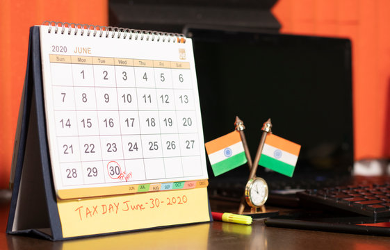 Tax day or deadlines for filing income tax return in india on june 30 marked as reminder in calendar