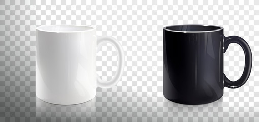 Empty White and Black Mugs