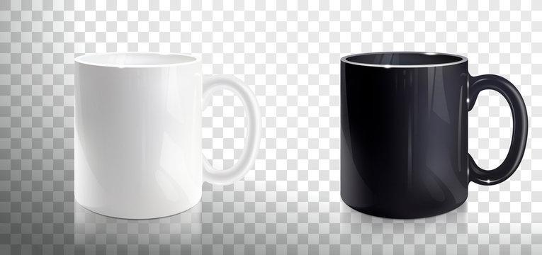 Empty White and Black Mugs
