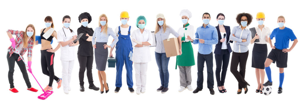coronavirus, pandemic, health care and unemployment concept - set of different people in protective mask isolated on white