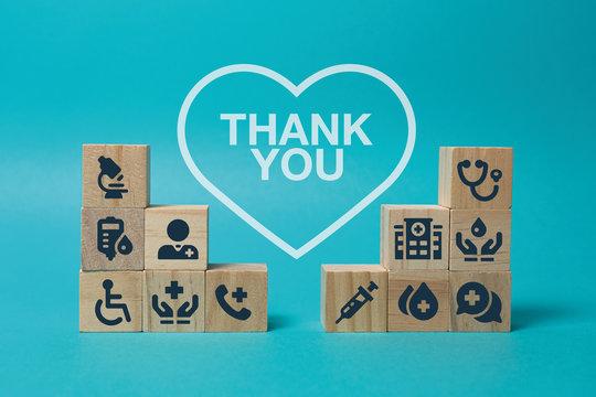 Medical care, medicine, illustration. Still life blue background. Thank you text