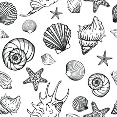 Seamless pattern with seashells, corals and starfishes. Marine background.  Perfect for greetings, invitations, manufacture wrapping paper, textile and web design.