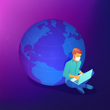 Isometric social distancing and self-isolation outsource job during covid-19 global pandemic abstract concept. International cooperation, distance home working vector 3D isometric illustration.