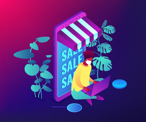 Online shopping during global quarantine concept. Buy essentials online, no-contact delivery, contactless grocery pick-up. Social distance, stay at home violet neon vector isometric 3D illustration.