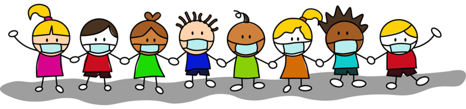 Group of kids hand in hand, wearing masks due to the corona virus pandemic, in cute character vector.