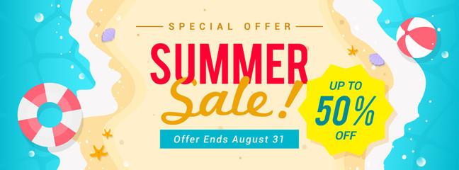 Summer sale banner vector illustration. top view of summer beach waves background Fototapete