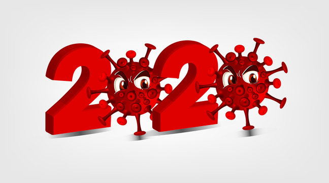 2020 of covid - 19. Coronavirus Warning sign with virus image on white background. vector image.