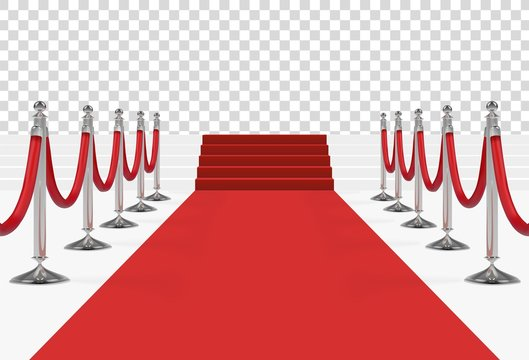 Red carpet on stairs with red ropes on silver stanchions