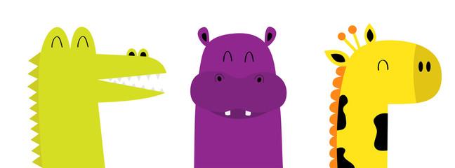 Hippopotamus hippo Giraffe Alligator crocodile face head icon. Kawaii animal set. Cute cartoon funny baby character. Long neck. Baby clothes kids print. Love. Flat design. White background. Isolated.