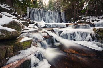 Fototapeta Karpacz, Poland. Winter view of Wild Waterfall (Dziki Wodospad) obraz