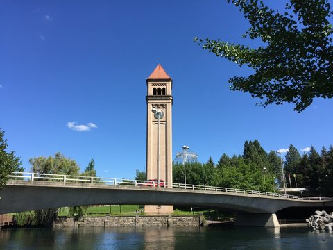 Scenic view of Infamous Spokane Clock Tower on a Warm Sunny Day