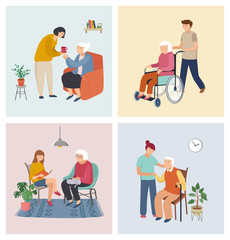 Volunteers series - young people taking care of seniors people. Helping with household chores, walking, reading books, bringing the grocery, pushing the wheelchair.