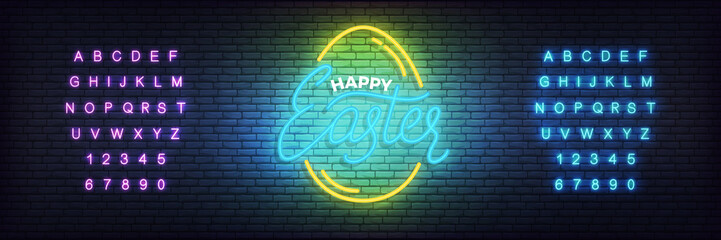 Easter neon template. Glowing label for Easter and alphabet