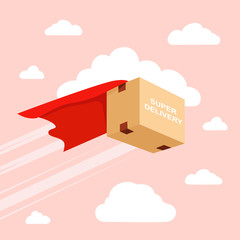 Flying package Delivery. Superhero box. Vector template e-commerce, fast delivery service, parcel delivery.