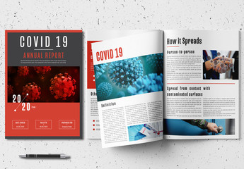 Annual Report Layout with Red Accents and Coronavirus Illustrations