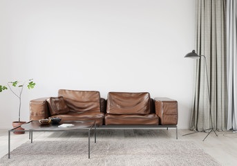 Living room with brown leather sofa Wall mural