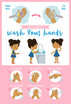 How to wash your hands Step Info Graphic vector illustration