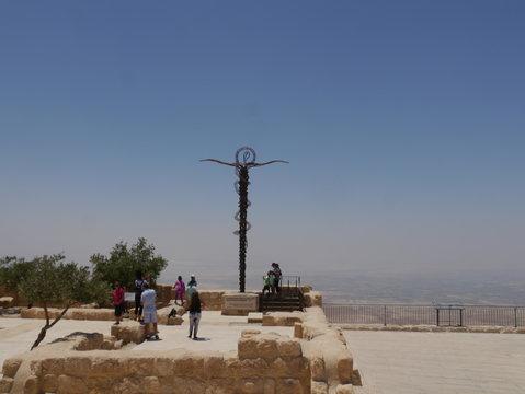 famous religious snake cross on top of mount nebo, Madaba, kingdom Jordan, middle east