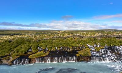 Panorama of Hraunfossar Waterfall in summer, Husafell, Iceland