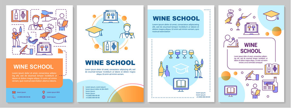 Wine school brochure template. Online course on alcohol. Flyer, booklet, leaflet print, cover design with linear icons. Vector layouts for magazines, annual reports, advertising posters