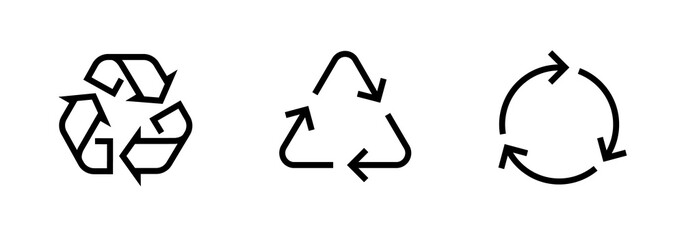 Set of Recycle sign icons. Editable line vector.