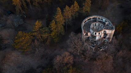 Abandoned beautiful tower With Collapsed Roof