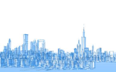 modern city panorama 3d illustration Fotomurales