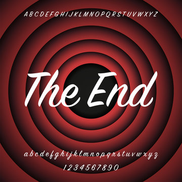 Old Red Movie Ending screen background. The End. Alphabet design. Vector