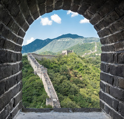 Beautiful and Gorgeous view of the Great Wall of China from a wall window