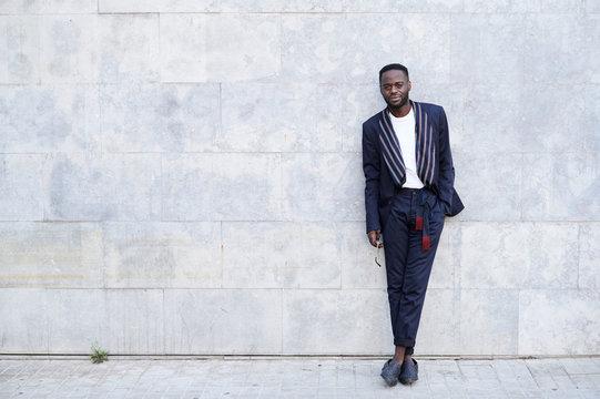 Full length portrait black afro businessman.
