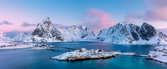 Panoramic view from above to Sakrisøya Island with mountains on background at sunrise - Lofoten Islands, Norway. Europe