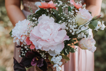 Pretty, Pink Silk Floral Bouquet Fotobehang