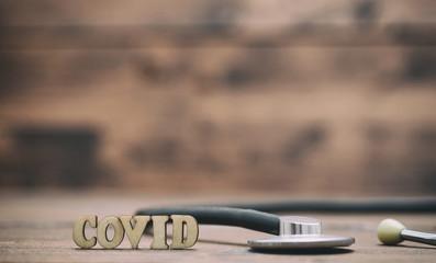Covid wooden letters, Corona virus concept , novel Coronavirus 2019 disease,COVID-19,nCoV