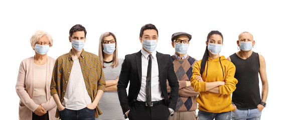 Group of young and older people wearing protective medical face masks Fotobehang