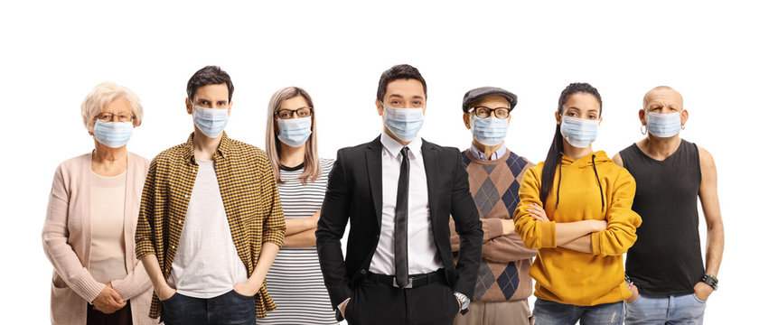Group of young and older people wearing protective medical face masks