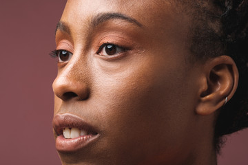 African-american woman beauty close up portrait