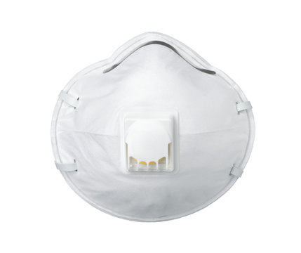 White respirator face mask with breathing valve