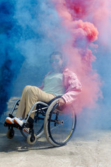 Disabled Woman In Blue And Pink Smoke