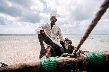 Portrait of an artisanal fisherman on the shores of Zanzibar