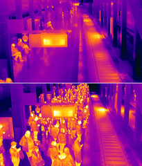 A combination photo shows the platform of an U-Bahn underground train at Alexanderplatz station during the coronavirus disease (COVID-19) outbreak and before taken with thermal imaging camera in Berlin.