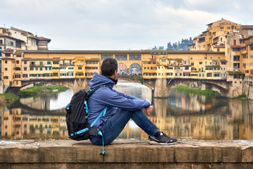 Man In Front Of Ponte Vecchio. Florence Tuscany Italy