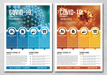 Coronavirus Flyer Layout with Blue and Orange  Accents
