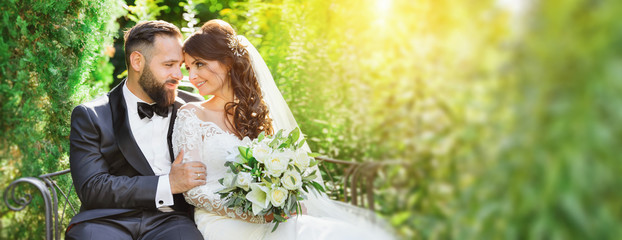 beautiful bride and groom in the nature