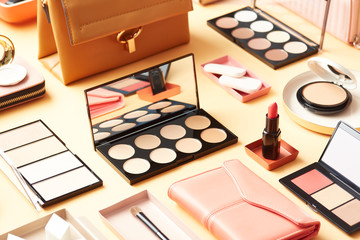 Accessories and cosmetic products in layout